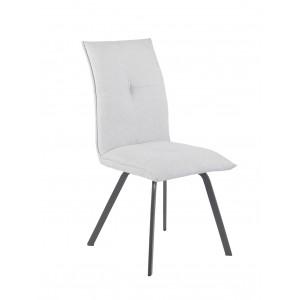 Chaise design en tissu & métal Blanc grisé - JADE