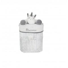 Panier à linge enfant en saule blanc - petit modèle -LICORNE