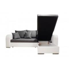 Canapé d'angle convertible & coffre rangement - gris et blanc - microfibre et simili cuir  - BARY