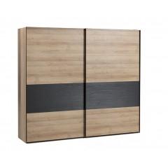 Armoire 2 portes coulissantes bois et noir - AURORE