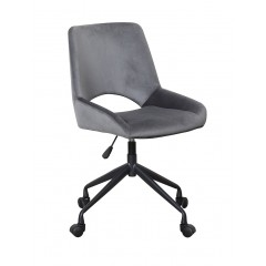 Chaise de bureau tissu gris à roulettes - LOUISE