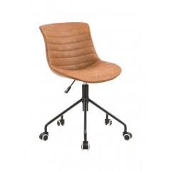 Chaise de bureau à roulettes en simili marron, assise réglable et confortable - design contemporain vintage - ROCK