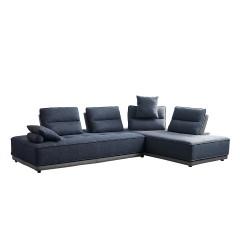 Canapé d'angle modulable droite ou gauche tissu bleu bicolore gris confortable - LOUNGE