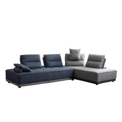 Canapé d'angle modulable droite ou gauche tissu gris et bleu confortable - LOUVRE