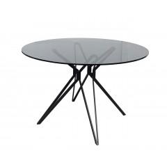 Table ronde plateau verre fumé structure acier en étoile 120cm - EFFECT