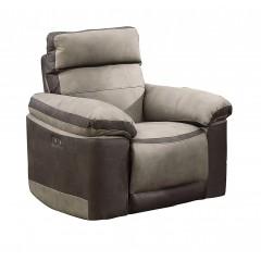 Fauteuil relaxation beige bicolore motorisé tissu suédine doux - LAURIE