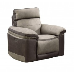 Fauteuil relaxation beige bicolore motorisé tissu suédine doux - CLARA