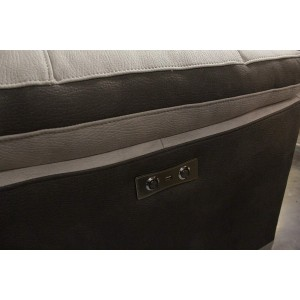 Fauteuil relaxation beige bicolore motorisé tissu suédine doux usb  - CLARA
