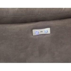 Fauteuil relaxation taupe motorisé tissu suédine doux - CLARA