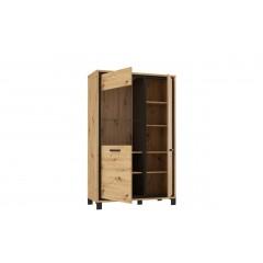 Vitrine 2 portes finition bois de chêne - encadrement noir - poignée métal noir - moderne et contemporain - IBIZA
