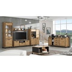 Armoirette 4 portes et 1 tiroir finition bois de chêne - encadrement noir - poignée métal noir - moderne et contemporain - IBIZA