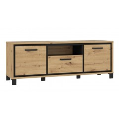 Meuble TV finition bois de chêne - encadrement noir - poignée métal noir - chaleureux moderne et authentique - IBIZA