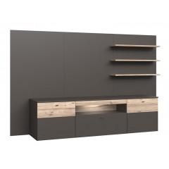 Paroi TV avec meuble + étagères gris & chêne naturel - TONY