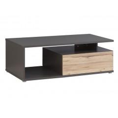 Table basse grise & chêne naturel 120x40 cm - TONY