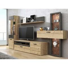 Meuble TV finition bois & gris béton - LOCA - ambiance