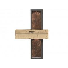 Étagère placard bois 1 porte / 2 étagères -  finition bois & gris - Led inclus -  LOCA