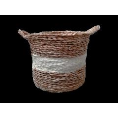 Corbeille ronde en corde de paille naturelle - KORFU petit