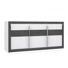 Bahut 3 portes 2 tiroir béton gris foncé & blanc - MONACO