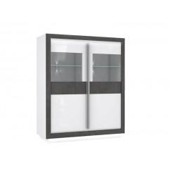 Armoirette 2 portes béton gris foncé & blanc - MONACO
