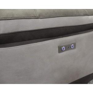 Fauteuil relaxation taupe bicolore motorisé tissu suédine doux usb - CLARA