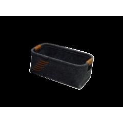 Corbeille rectangulaire en feutre gris foncé avec lanières petit modèle - KOKO