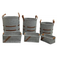 Lot de 6 corbeilles rondes et rectangulaires en feutre gris avec lanières - BASKET
