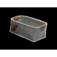 Corbeilles rectangulaires en feutre gris avec lanières petit modèle - KOKO