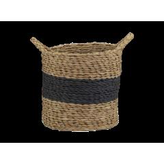 Corbeille ronde en corde de paille naturelle et corde en papier petit modèle  - CARTA