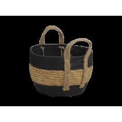 Corbeille ronde en papier noir et corde à paille petit modèle - CARTA