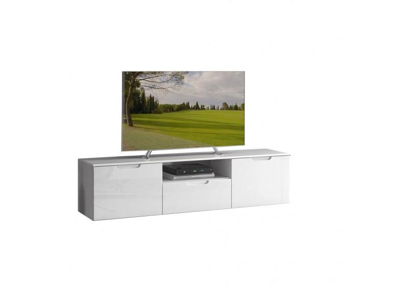 Meuble Tv Blanc Laque 3 Portes Design Moderne Contemporain Sienna