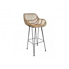 Chaise haute / Tabouret bar en rotin naturel & métal - RATTAN