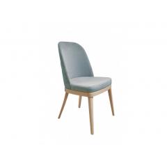 Chaise en velours & piétement bois de hêtre