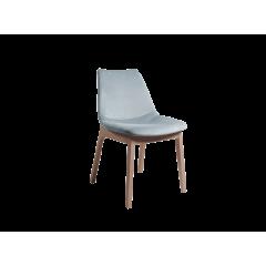 Chaise velours bleu & pieds bois hêtre - BLOOM