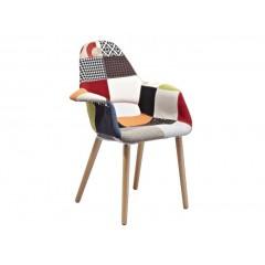 Chaise scandinave coque tissu patchwork color bois hetre - COSY