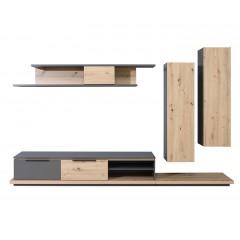 Ensemble meubles TV paroi murale en bois naturel et gris - MATARA