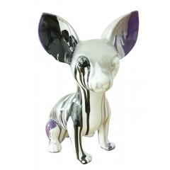 Statuette chihuahua gris en résine H30 cm - KIKI