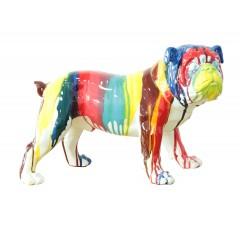 Statuette Chien Carlin multicolore en résine  L40 cm - CARL