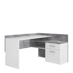 Bureau d'angle blanc et décor béton gris avec rangements - ESTEBANE