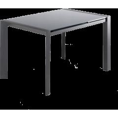 Table de repas extensible 120/180 cm rectangulaire plateau verre gris et piétement acier - SUBTILE 2