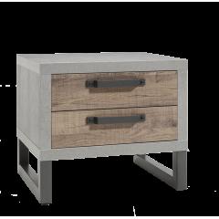 Table de chevet 2 tirois finition bois & béton - FABRIC