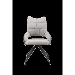 Chaise bi-matière & pieds étoile en métal gris clair - LIVORNO
