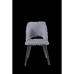 Chaise tissu velours côtelé gris et pieds métal noir - sobre et élégante - PICCADILLY