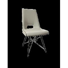Chaise gris crème & piétement acier noir - TOYA