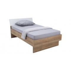Lit 120x200 cm et tiroir de rangement bois clair et blanc - GLOBE
