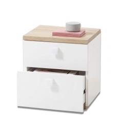 Table de chevet bois clair et blanc laqué - moderne et élégante - GLOBE