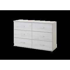 Commode 6 tiroirs chêne blanc - ANNA