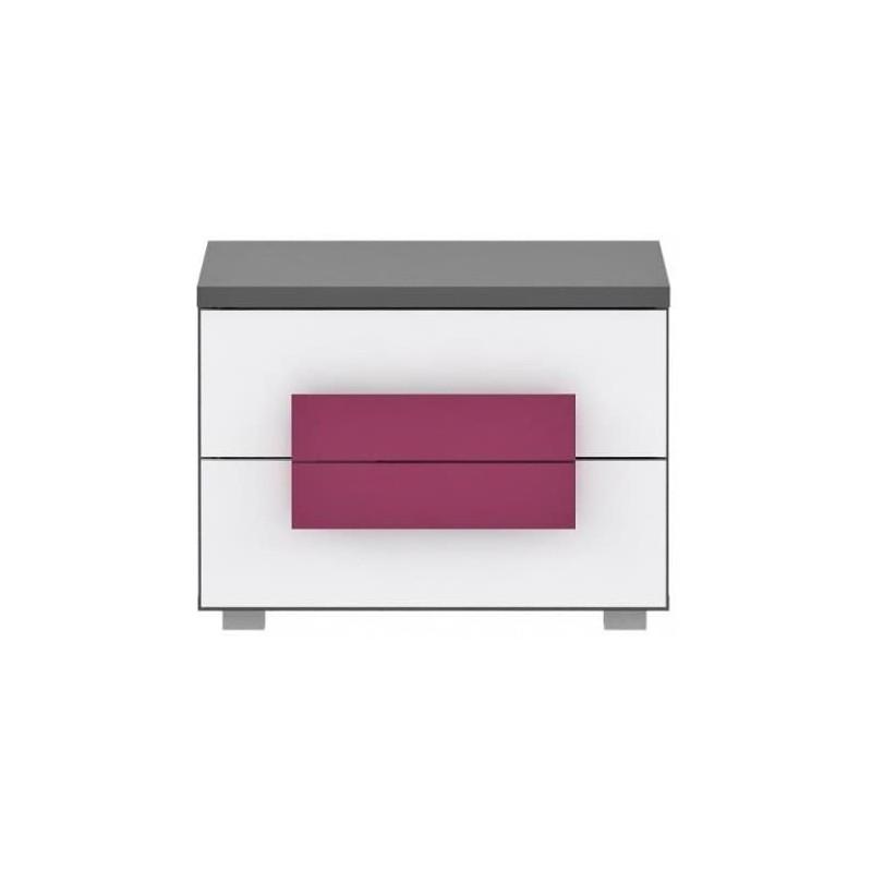 table de chevet meuble de lit  chambre enfant fushia - LIBELLE