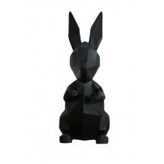 Statuette lapin noir mate en résine H23 cm - formes géométriques contemporaines -  CALISSON