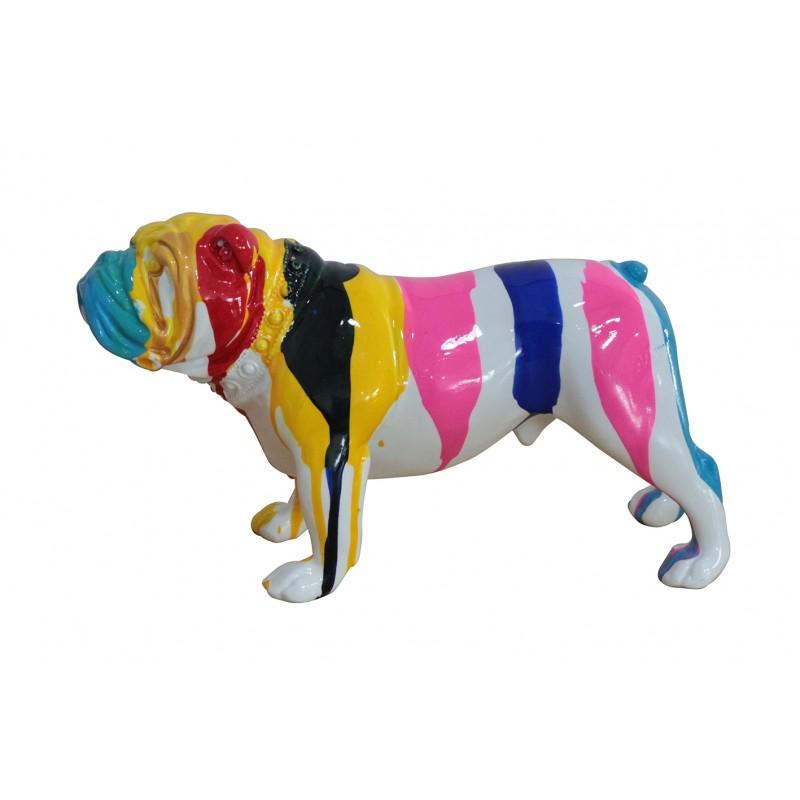 statue chien taches de peinture multicolores en résine - SPIKE