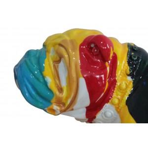 statue chien taches de peinture multicolores en résine - zoom tête - SPIKE